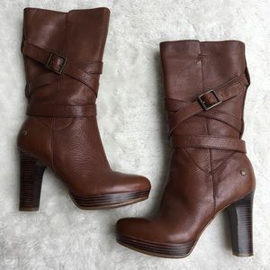 UGG Jardin Brown Zip Leather Heeled Boots Size 5